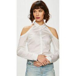 Guess Jeans - Bluzka Piera. Szare bluzki damskie Guess Jeans, z aplikacjami, z bawełny, casualowe. Za 319.90 zł.