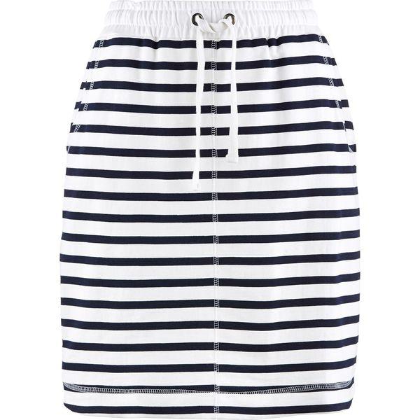4f991848 Spódniczka dresowa bonprix ciemnoniebiesko-biały w paski