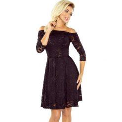 168-1 sukienka z odkrytymi ramionami - kontrafałda - koronka czarna. Czarne sukienki damskie NUMOCO, w koronkowe wzory, z bawełny. Za 188.00 zł.