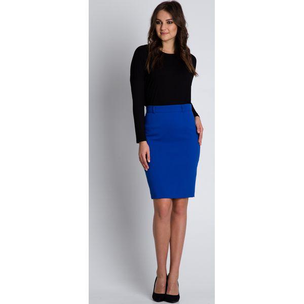 ff6a6682 Ołówkowa niebieska spódnica z podszewką BIALCON