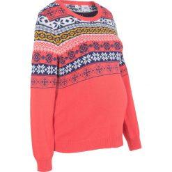 Sweter ciążowy bonprix koralowy wzorzysty. Swetry damskie marki bonprix. Za 79.99 zł.
