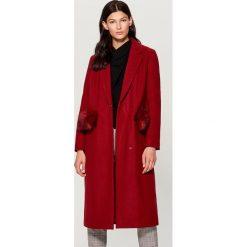 Płaszcz z wełną - Bordowy. Czerwone płaszcze damskie Mohito, z wełny. Za 369.99 zł.