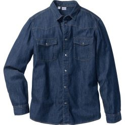 Koszula dżinsowa Slim Fit bonprix ciemnoniebieski. Niebieskie koszule męskie bonprix, z długim rękawem. Za 49.99 zł.
