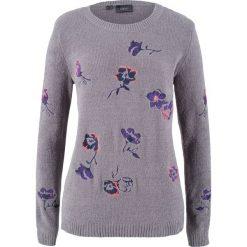 Sweter w kwiaty bonprix szary melanż wzorzysty. Szare swetry damskie bonprix. Za 49.99 zł.