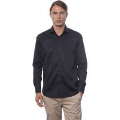 Koszula w kolorze czarnym. Czarne koszule męskie Roberto Cavalli, Trussardi, z klasycznym kołnierzykiem. W wyprzedaży za 219.95 zł.