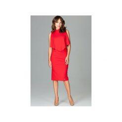 Sukienka K480 Czerwony. Czerwone sukienki damskie Lenitif, z dekoltem na plecach. Za 179.00 zł.