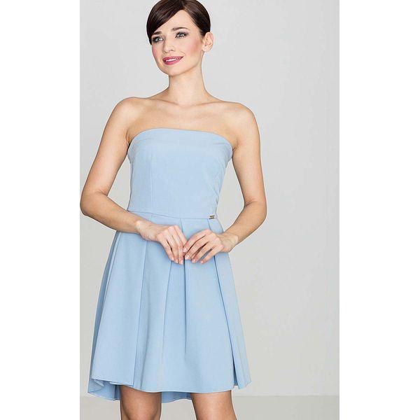 241a282b4d Elegancka Niebieska Gorsetowa Sukienka z Dłuższym Tyłem - Sukienki ...