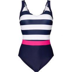 Kostium kąpielowy bonprix ciemnoniebiesko-biały. Niebieskie kostiumy jednoczęściowe damskie bonprix. Za 89.99 zł.