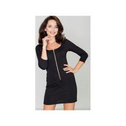 Sukienka K104 Czarny. Czarne sukienki damskie Katrus, z dzianiny, biznesowe, z długim rękawem. Za 119.00 zł.