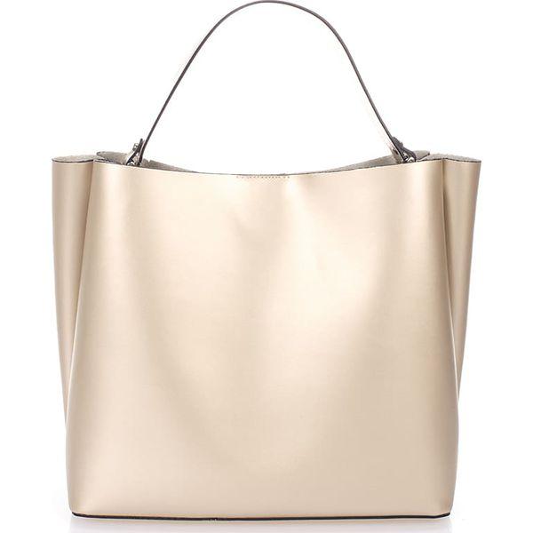17cd570247567 Skórzana torebka w kolorze złotym - 37 x 50 x 15 cm - Torby na ramię ...