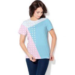 Colour Pleasure Koszulka CP-030  27 biało-niebiesko-różowa r. XS/S. Bluzki damskie marki Colour Pleasure. Za 70.35 zł.