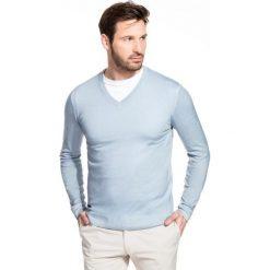 Sweter MARTINO SWNS000095. Niebieskie swetry przez głowę męskie Giacomo Conti, z wełny, z klasycznym kołnierzykiem. Za 229.00 zł.