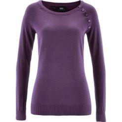 Sweter z plisą guzikową bonprix ciemny lila. Swetry damskie marki bonprix. Za 74.99 zł.