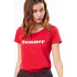 Etam - Top piżamowy. Różowe piżamy damskie Etam, z nadrukiem, z bawełny. W wyprzedaży za 39.90 zł.