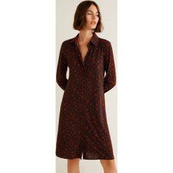 Mango - Sukienka Ham. Brązowe sukienki damskie Mango, z elastanu, casualowe, z długim rękawem. Za 139.90 zł.