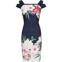 Sukienka bonprix granatowy w kolorowe kwiaty. Sukienki damskie marki DOMYOS. Za 149.99 zł.