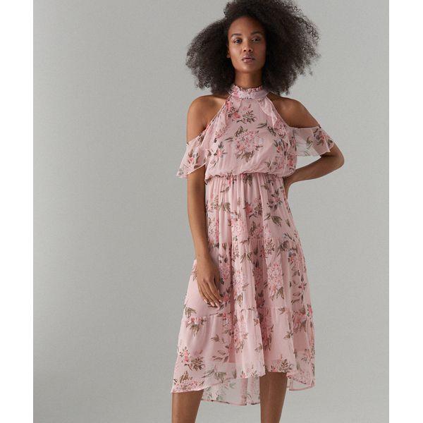 40b4d54c Szyfonowa sukienka open shoulder - Różowy