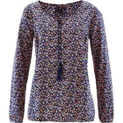 Bluzka bawełniana z długim rękawem bonprix ciemnoniebieski w kwiaty. Niebieskie bluzki damskie bonprix, w kwiaty, z bawełny, z długim rękawem. Za 49.99 zł.
