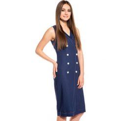 Granatowa sukienka w marynarskim stylu BIALCON. Szare sukienki damskie BIALCON, wizytowe, dekolt w kształcie v, na ramiączkach. W wyprzedaży za 130.00 zł.