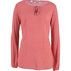 Bluzka z długim rękawem bonprix rabarbarowo-biały. Czerwone bluzki damskie bonprix, z długim rękawem. Za 49.99 zł.