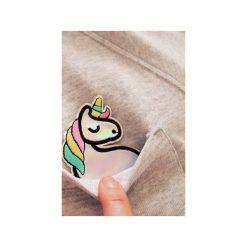 Bluza raglan kieszonka jednorożec holo. Szare bluzy damskie One mug a day, z aplikacjami, z bawełny. Za 139.00 zł.