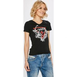 Guess Jeans - Top. Szare topy damskie Guess Jeans, z aplikacjami, z bawełny, z krótkim rękawem. Za 139.90 zł.