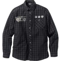 Koszula z długim rękawem bonprix czarny w kratę. Czarne koszule męskie bonprix, z nadrukiem, z długim rękawem. Za 89.99 zł.