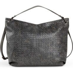 Torba shopper pleciona bonprix szary metaliczny. Szare torebki shopper damskie bonprix, w paski. Za 109.99 zł.