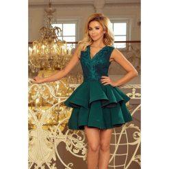 200-6 charlotte - ekskluzywna sukienka z koronkowym dekoltem - zielona. Zielone sukienki damskie NUMOCO, z koronki. Za 249.00 zł.