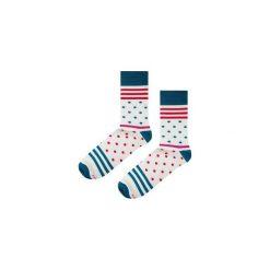 Skarpetki Blue Stripes N Dots. Niebieskie skarpety męskie marki Soxstory, z napisami. Za 16.00 zł.
