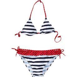 Bikini dziewczęce (2 części) bonprix ciemnoniebiesko-biały w paski. Bielizna dla dziewczynek marki bonprix. Za 44.99 zł.