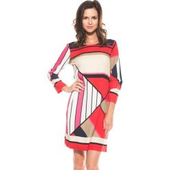 Kolorowa sukienka z rękawem 3/4 BIALCON. Szare sukienki damskie BIALCON, w geometryczne wzory, wizytowe. W wyprzedaży za 148.00 zł.