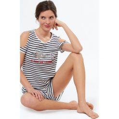 Etam - Top piżamowy Joris. Szare piżamy damskie Etam, z bawełny. W wyprzedaży za 39.90 zł.