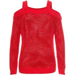 Sweter ażurowy z wycięciami bonprix truskawkowy. Swetry damskie marki bonprix. Za 74.99 zł.