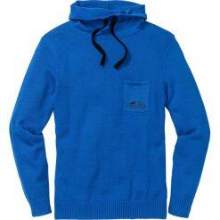 Sweter z szalowym kołnierzem Regular Fit bonprix lazurowy. Niebieskie swetry przez głowę męskie bonprix, z nadrukiem. Za 89.99 zł.