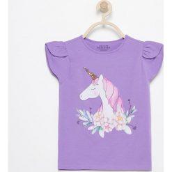 T-shirt z jednorożcem - Fioletowy. T-shirty i topy dla dziewczynek marki bonprix. Za 24.99 zł.