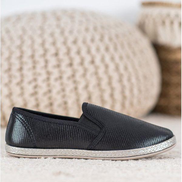 SHELOVET Błyszczące Buty Slip On czarne