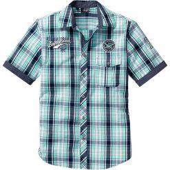 Koszula z krótkim rękawem bonprix zielony miętowy w kratę. Zielone koszule męskie bonprix, z aplikacjami, z krótkim rękawem. Za 89.99 zł.