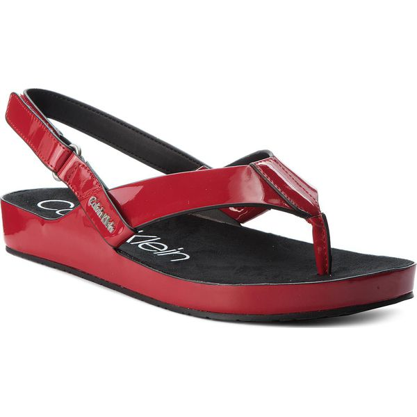 Klapki damskie: Japonki CALVIN KLEIN BLACK LABEL - Manira E6694  Crimson Red
