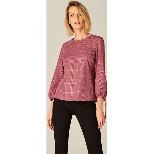 Zaawansowane Bluzka w kratkę z bufiastymi rękawami - Różowy - Bluzki damskie QN14