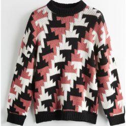 Sweter z wełną merino ReDesign - Wielobarwn. Brązowe swetry damskie Reserved, z wełny. Za 239.99 zł.