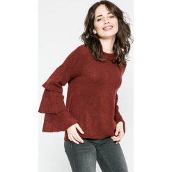 Only - Sweter Flower. Brązowe swetry damskie Only, z dzianiny, z okrągłym kołnierzem. W wyprzedaży za 59.90 zł.