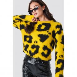 Rut&Circle Sweter Leopard - Yellow. Żółte swetry damskie Rut&Circle, z materiału, z okrągłym kołnierzem. Za 202.95 zł.