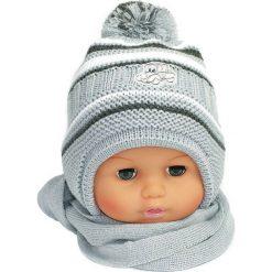 Czapka niemowlęca z szalikiem CZ+S 154G szara. Czapki dla dzieci marki Reserved. Za 38.76 zł.