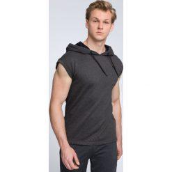 Bluza z krótkim rękawem męska TSM028 - ciemny szary melanż. Szare bluzy męskie 4f, melanż, z bawełny. W wyprzedaży za 69.99 zł.