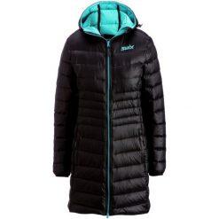Swix Płaszcz Puchowy Romsdal Black/Tundra Blue S. Czarne płaszcze damskie Swix, na zimę, z puchu, sportowe. W wyprzedaży za 829.00 zł.