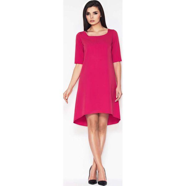 001ae492fcb8d Różowa Koktajlowa Asymetryczna Sukienka z Krótkim Rękawem - Sukienki ...