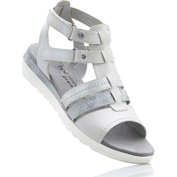 896e4da5636ed9 Wygodne sandały skórzane bonprix jasnoszary - Sandały damskie marki ...