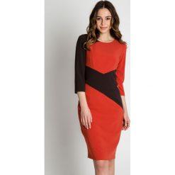 Brązowa sukienka z rękawem 3/4 BIALCON. Brązowe sukienki damskie BIALCON, wizytowe. W wyprzedaży za 109.00 zł.