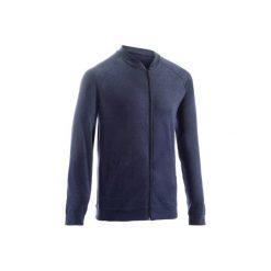 Bluza na zamek Gym & Pilates 100 męska. Niebieskie bluzy męskie DOMYOS, z bawełny. Za 39.99 zł.